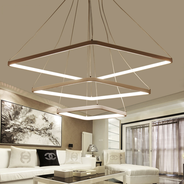 Acrylic Square Rings Modern Led Pendant Lights For Dining