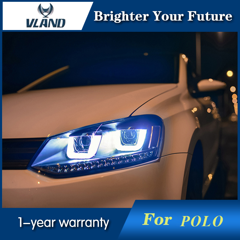 For VW Volkswagen Polo Headlights 2009-2015 GTI LED Headlight DRL led headlights for vw volkswagen golf 6 mk6 2010 2014 uu type drl led headlights demon eyes