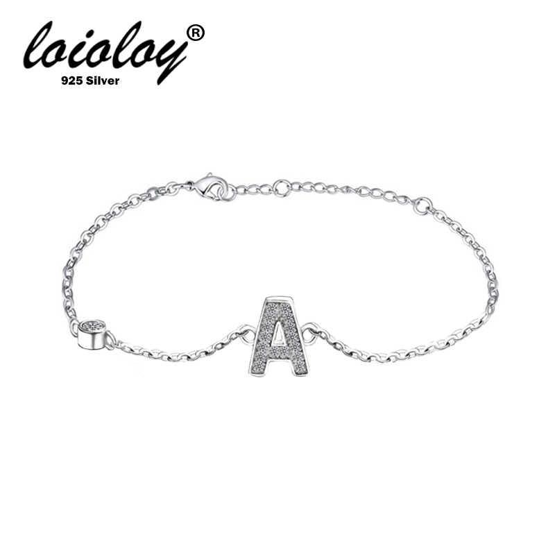 Loioloy 100% 925 argent lettre Bracelet & Bracelet pour femmes argent réglable nom Bracelets bijoux femme cadeau Pulseras Mujer