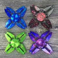 Fashion Four Angle Fidget Spinner Blue Black Toy EDC Hand Spinner Anti Stress Reliever And EDC Toys For Children Adults