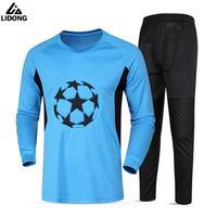 2017 Yeni Erkekler Tam Kaleci Uzun Formalar Futbol Kaleci Eğitim Suit Futbol Gol Kaleci Pantolon Set Koruyucu Kitleri Ile Tops