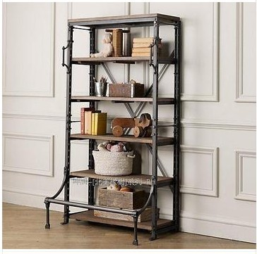 French Country Furniture Wrought Iron Bookcase Shelves Display Rack Loft Shelving