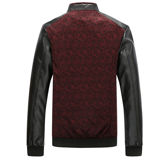 PU Leather Sleeved Men's Bomber Jacket 3 Colors