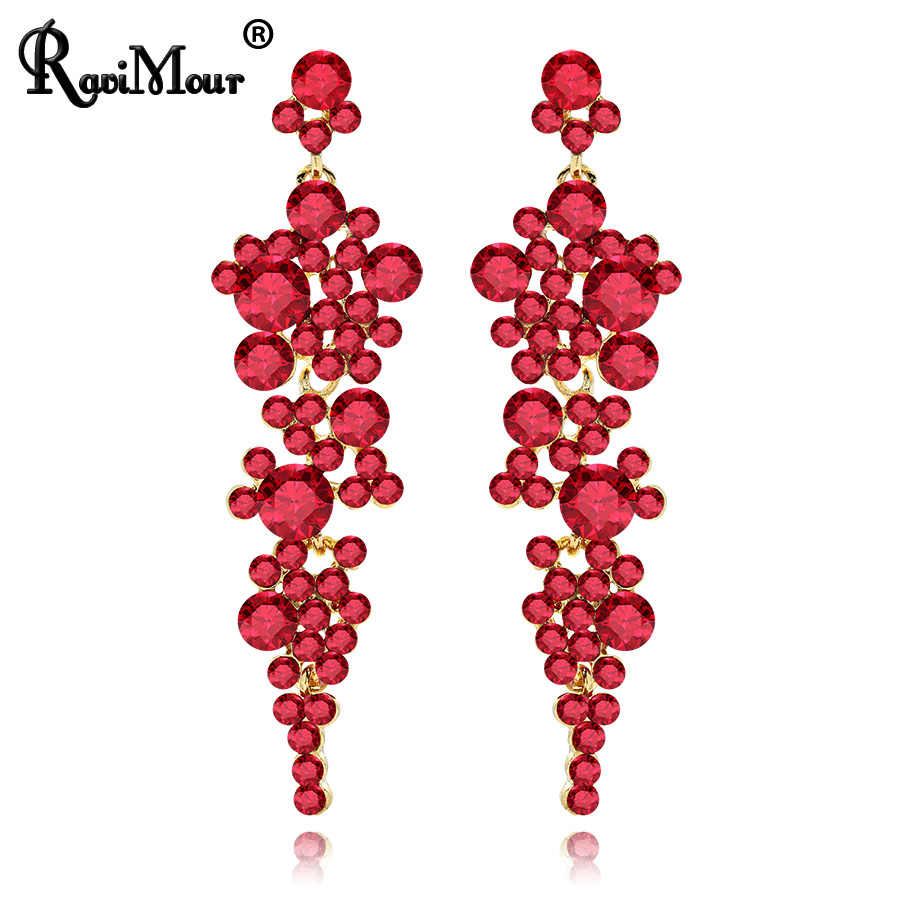 RAVINOUR Luxury Wedding Jewelry Red Crystal Drop Earrings for Women Long Earring Cocktail Ornaments Indian Statement Earing 2018