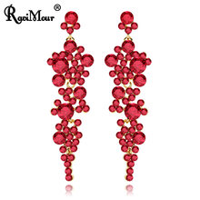 RAVINOUR Luxury Wedding Jewelry Red Crystal Drop Earrings for Women Long Earring Cocktail Ornaments Indian Statement Earing 2018(China)