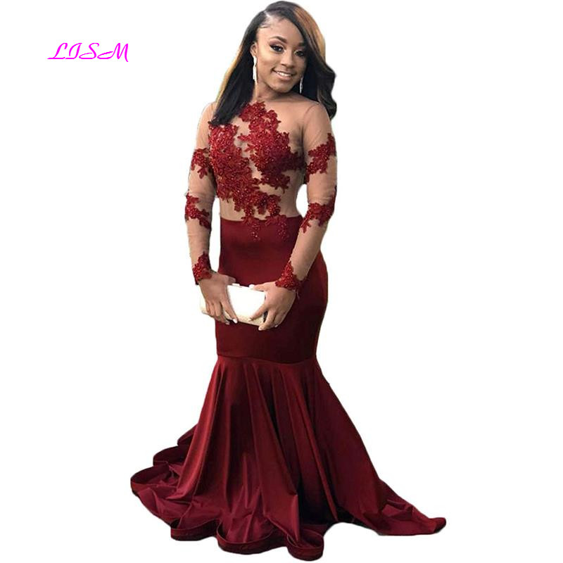 Sexy Illusions Long Sleeve Lace Prom Dresses Mermaid 2019 Beaded Appliques Formal Evening Gowns Long Backless Party Dress