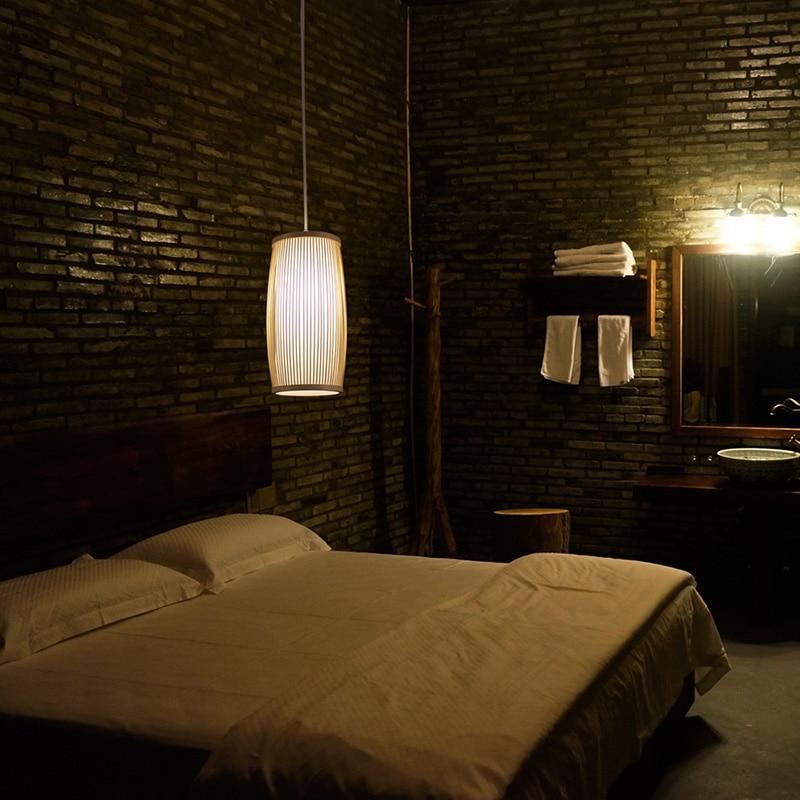 Pendant Light Bamboo Handmade Pendant Lamp Bedroom Hotel Restaurant Natural Suspension Lighting Kitchen Fixture Hanglamp
