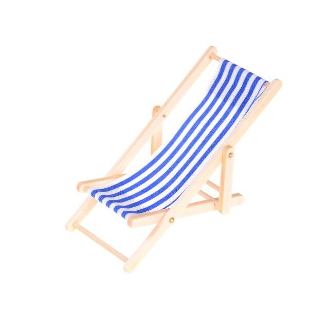 Folding Stripe Deck Chair Home Decor Pretend Play Mini Beach Lounge Dollhouse Miniature Chairs Garden