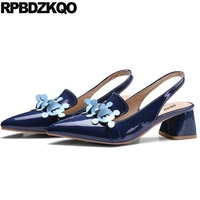 Thick Slingback Blue Size 33 High Heels Designer Pumps 13 45 12 44 Big Women Shoes
