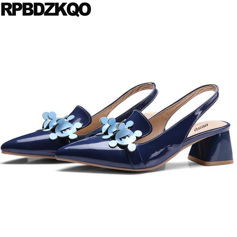 Thick Slingback Blue Size 33 High Heels Designer Pumps 13 45 12 44 Big Women Shoes Pointed Toe Patent Leather Medium Sandals sandals metal strap pumps square toe beige vintage medium 2017 women shoes high heels size 33 slingback belts block chinese