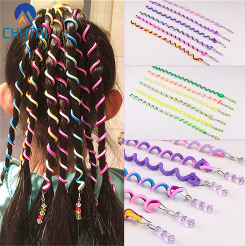 Set 6 Girls SPIRAL RAINBOW HAIR Curlers-Hair Jewellery Gems /& 1 BUTTERFLY Magnet