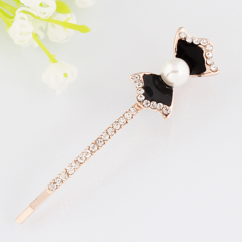 Womans jewelry Bow pearl Bowknot Hair clip Hairpins for girl Barrette Retail Headwear Hair accessories golden color nickel-free ...