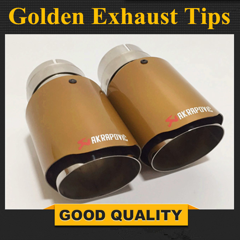 2 OUTPUT sizes Car-styling Akrapovic Car Bright Golden Exhaust End Pipes Single Muffler Tips universal exhaust car high power 304 stainless steel silencer car exhaust tips with car styling exhaust pipes 2 5 in
