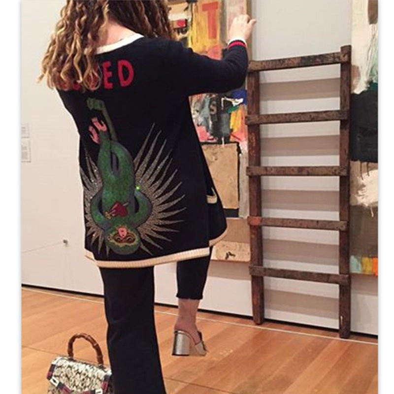 Long Knitted Cardigan Coat Women Christmas Sweater Cashmere Embroidered Monkey Diamond Pearl Buttons 2017 Winter Black