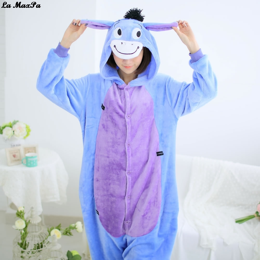 Donkey Kigurumi Onesie Adult Women Animal Pajamas Suit Flannel Winter Warm Soft Sleepwear Onepiece Jumpsuit Pijama Cosplay Suit ...