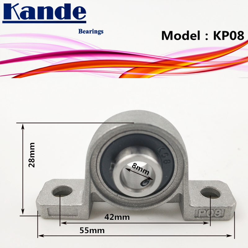 Kande Bearings KP08 1pcs KP08 Zinc Alloy Miniature Vertical Bearings/ Zinc Alloy Mounted / Bore: 8mm alloy