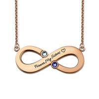 Wholesale Rose Gold Infinity Necklace With 2 Birthstones Mothers Necklace Infinity Symbol Name Necklace Bridesmaid Gift