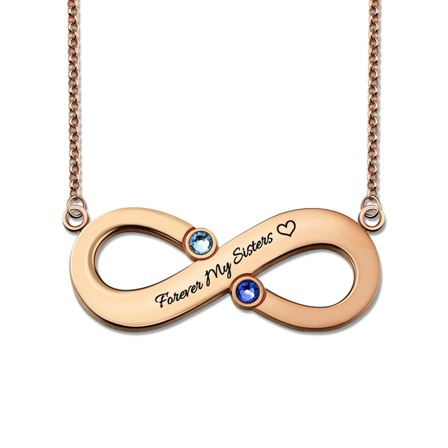 Wholesale Rose Gold Color Infinity Necklace With 2 Birthstones