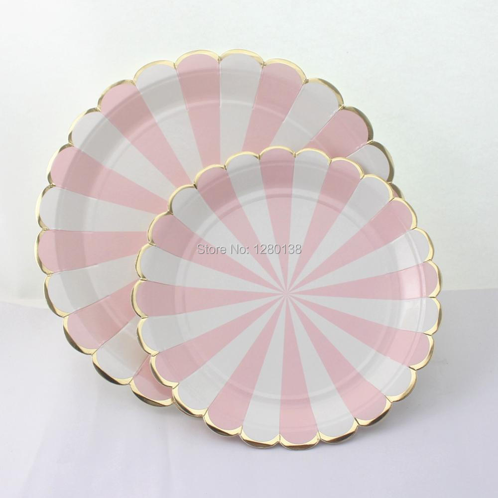 Scalloped Gold Foil Edge Paper PlatesParty Paper Dinner Napkins Dusty Pink and White Striped Wedding Shower Tableware-in Disposable Party Tableware from ... & Scalloped Gold Foil Edge Paper PlatesParty Paper Dinner Napkins ...