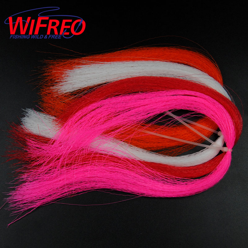[8paks] Crimped Nylon Fly Fishing Fiber Synethetic Fiber for Streamer Fly Tying Lure Dressing Bucktail Clouser Material Pink bimoo 6 bags ultra fine ice dub for fly tying synthetic sparkle dubbing fiber for nymph scud streamers fly tying material