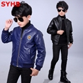 2017 Spring Boys Leather Jacket Coats Fleece Kids Leather Jackets Boys Casual Tops Black Warm Children Outerwear SYHB12303