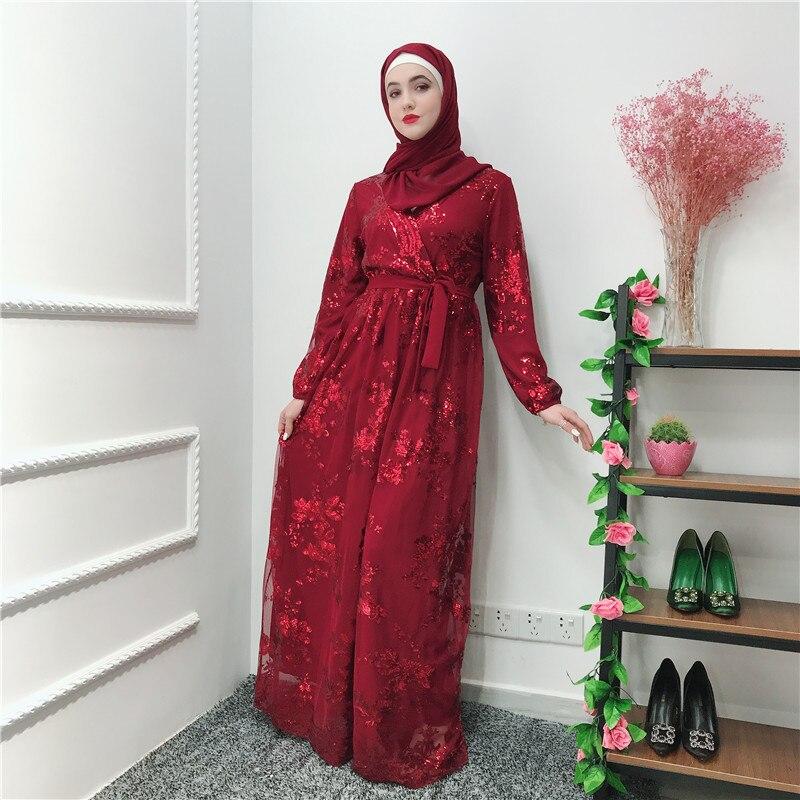 Sequin Lace Vestidos Abaya Kaftan Dubai Arabic Muslim Hijab Dress Caftan Eid Dresses Qatar Ramadan Elbise