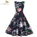Sishion plus size verão mulheres dress túnica vestidos mint verde azul escuro 1950 s 60 s rockabilly balanço do vintage floral dress vd0362