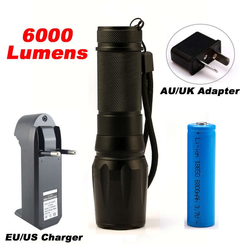 LED CREE XM-L2 Flashlight 6000lm Tactical Flashlight Zoomable Torch Waterproof 5 Mode Flash Light Adjustable 18650  Lamp cree xm l2 flashlight 5000lm adjustable zoomable led xm l2 flashlight lamp light torch lantern rechargeable 18650 2chargers z30
