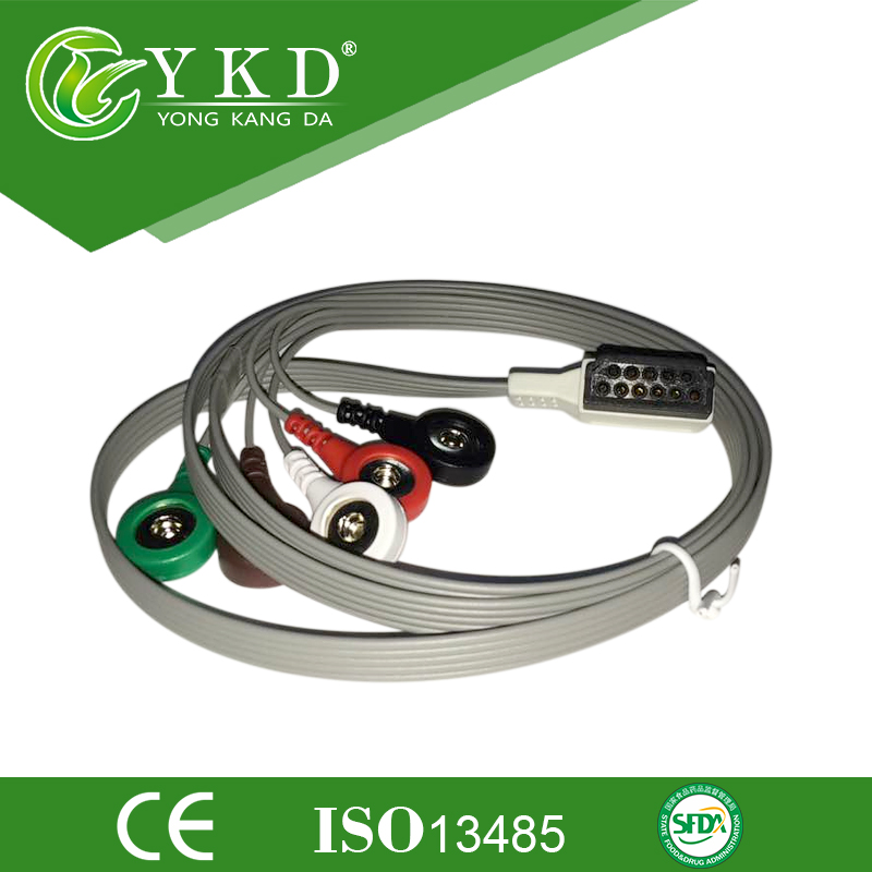 Free shipping Holter cable and leadwires 5 lead AHA SnapFree shipping Holter cable and leadwires 5 lead AHA Snap