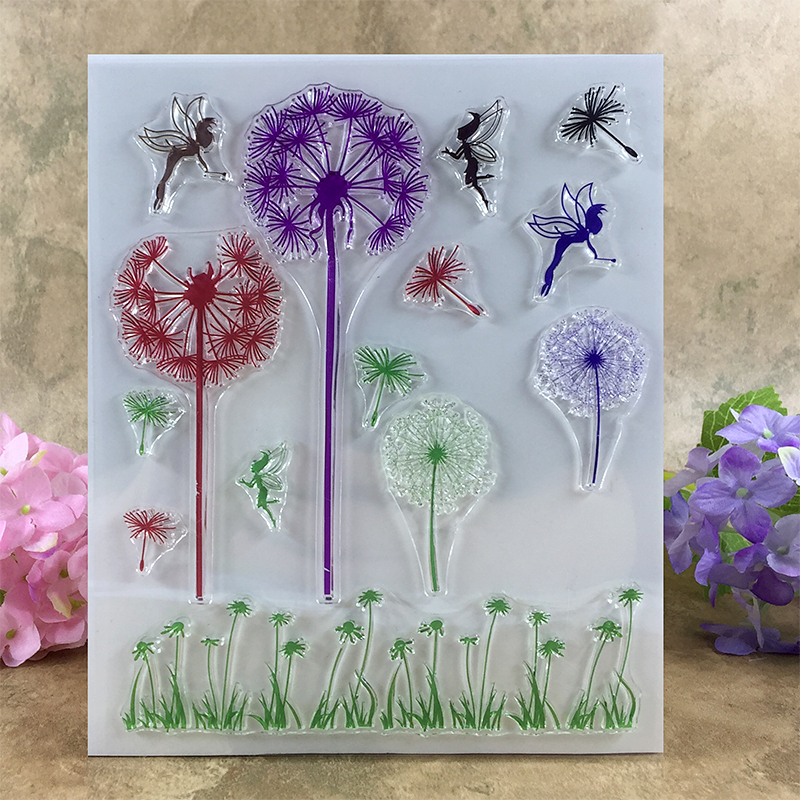 Beautiful Fairy with Dandelions Scrapbook DIY photo cards account rubber stamp clear stamp transparent stamp  14*18 CM scrapbook diy photo cards account rubber stamp clear stamp finished transparent chapter wall decoration 15 18