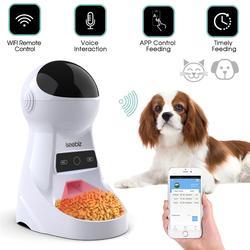 Pet Automatische Feeder Hund Katze Trinken Schüssel Mit Stimme Aufnahme und LCD Bildschirm Nass/Trocken Lebensmittel Schalen Hund Spender 4 mal ein Tag