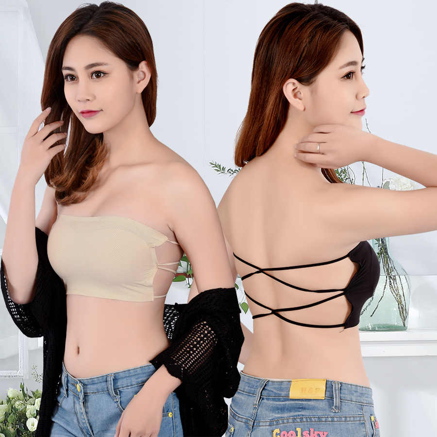 Women Brassiere Sexy Lace Bra Sexy Prevent Wrapped Chest Padded Underwear Strapless Stretch Boob Tube Tops Female Lingerie