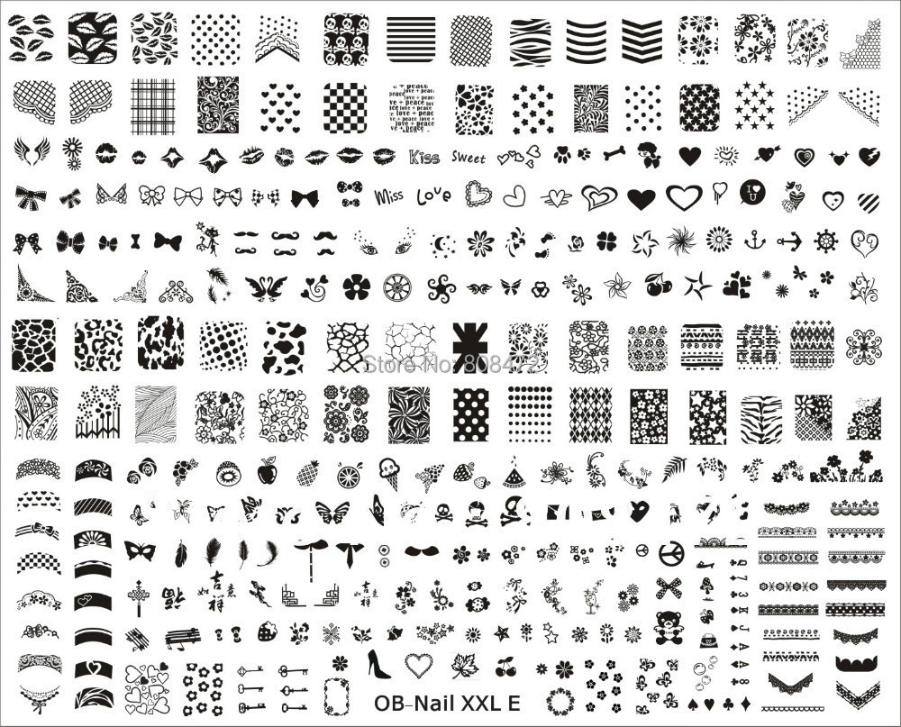 New Stamping Big Size Template Xxl Size Xxl E Designs Nail Art