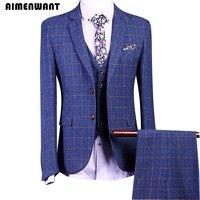 AIMENWANT мужские костюмы Корея модные Бизнес Профессиональный твидовый блейзер мужской синий сетки костюмы для свадьбы куртка + брюки + жилет к