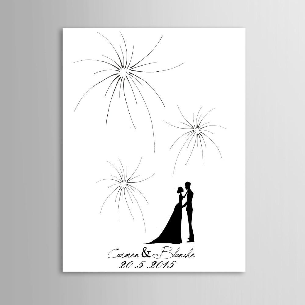 Pictures For Guests Fingerprints And Wishes: Firework Design Wedding Fingerprint Tree Guest Book