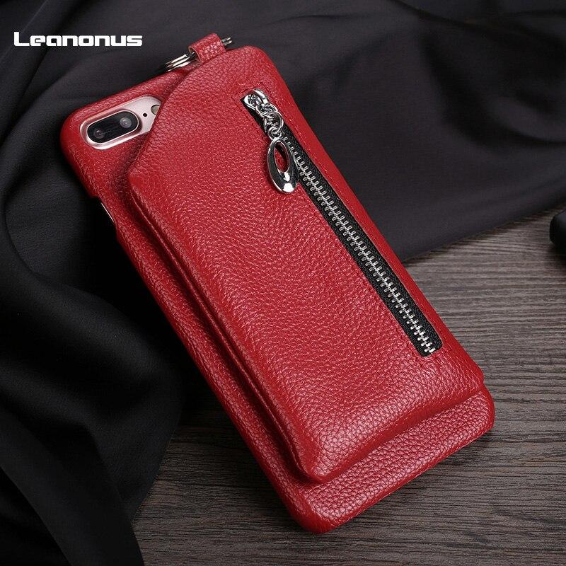 Leanonus 100% оригинал Пояса из натуральной кожи кошелек чехол для iPhone 7 8 7 Plus Съемная Пресс пряжки задняя крышка Чехол для Iphone 7 8