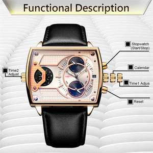 Image 4 - 6.11 DUANTAI cuir montre pour hommes carré Quartz étanche montre pour hommes es véritable cuir bleu décontracté Reloj Hombre