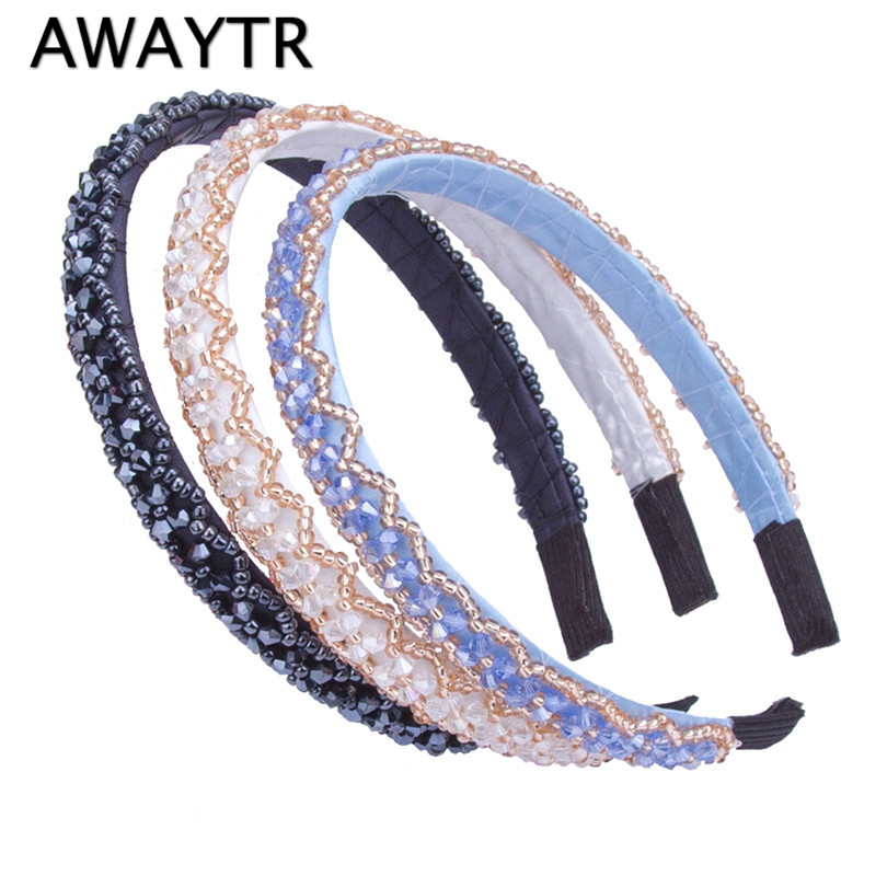 Brand New Fashion Women Girl Metal Crystal Hairbands Headband Black White Gilrs Beaded Hair Jewelry Hair Band Accessories l112 proposal in paris