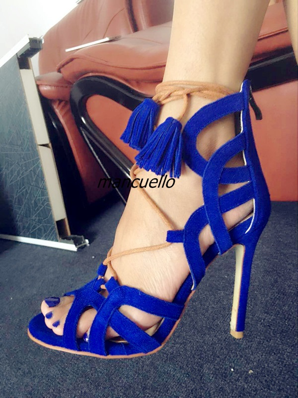 Delicate Blue Suede Lace Up Fringe Heels Sexy Open Toe Cut-out Tassel Stiletto Heel Dress Sandals Pretty Girls Date Dress Shoes young girl s black suede open toe lace up ankle sandal boots stiletto heel fringe dress shoes braid embellished party shoes