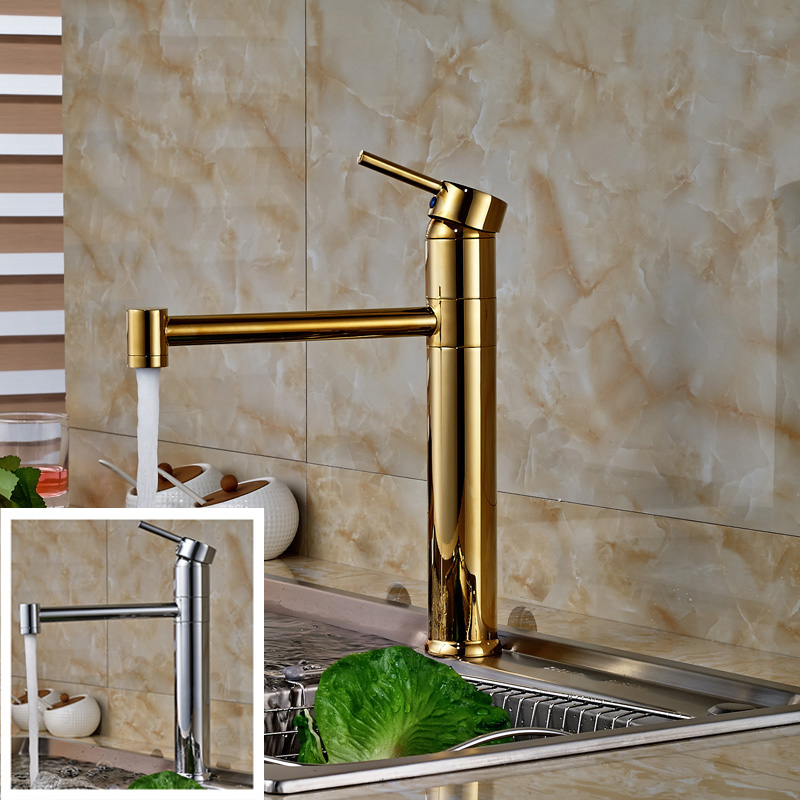 ФОТО Golden & Chrome Deck Mount Swivel Rotation Kitchen Sink Mixer Faucet Single Lever One Hole Brass Kitchen Faucet