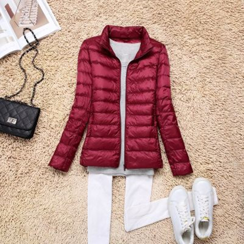 LEFT ROM new Fashion women keep warm Super light thin 90% White duck down down jacket/Women stand collar Casual down coat S-XXXL
