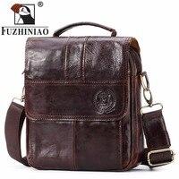 FUZHINIAO 2018 Promotion Simple Famous Brand Business Men Shoulder Bag Luxury Genuine Leather Man Messenger Handbags bolsa male