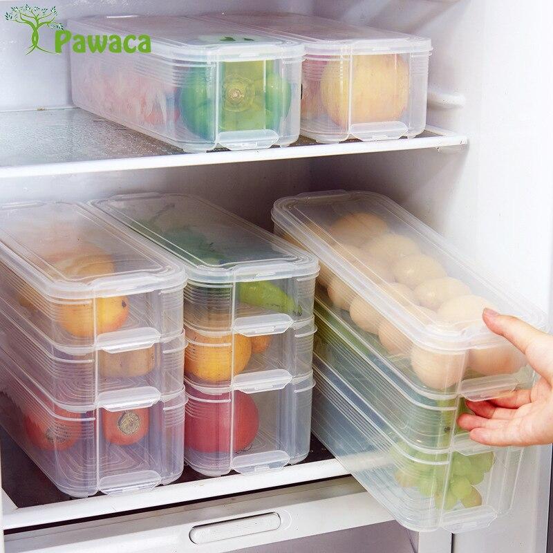 Three Layer Food Grade Plastic Fresh Keeping Refrigerator Storage Box with Lid for Kitchen Fridge Cabinet Freezer Desk Organizer