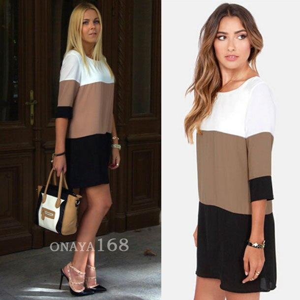 2016 new european and american fashion chiffon mini dress stitching slim package hip