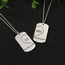 Customized Silver 2 Pendant Necklaces Personalized Engrave Name Family Jewelry Lovers Necklaces BBF Valentine's Day Jewelry