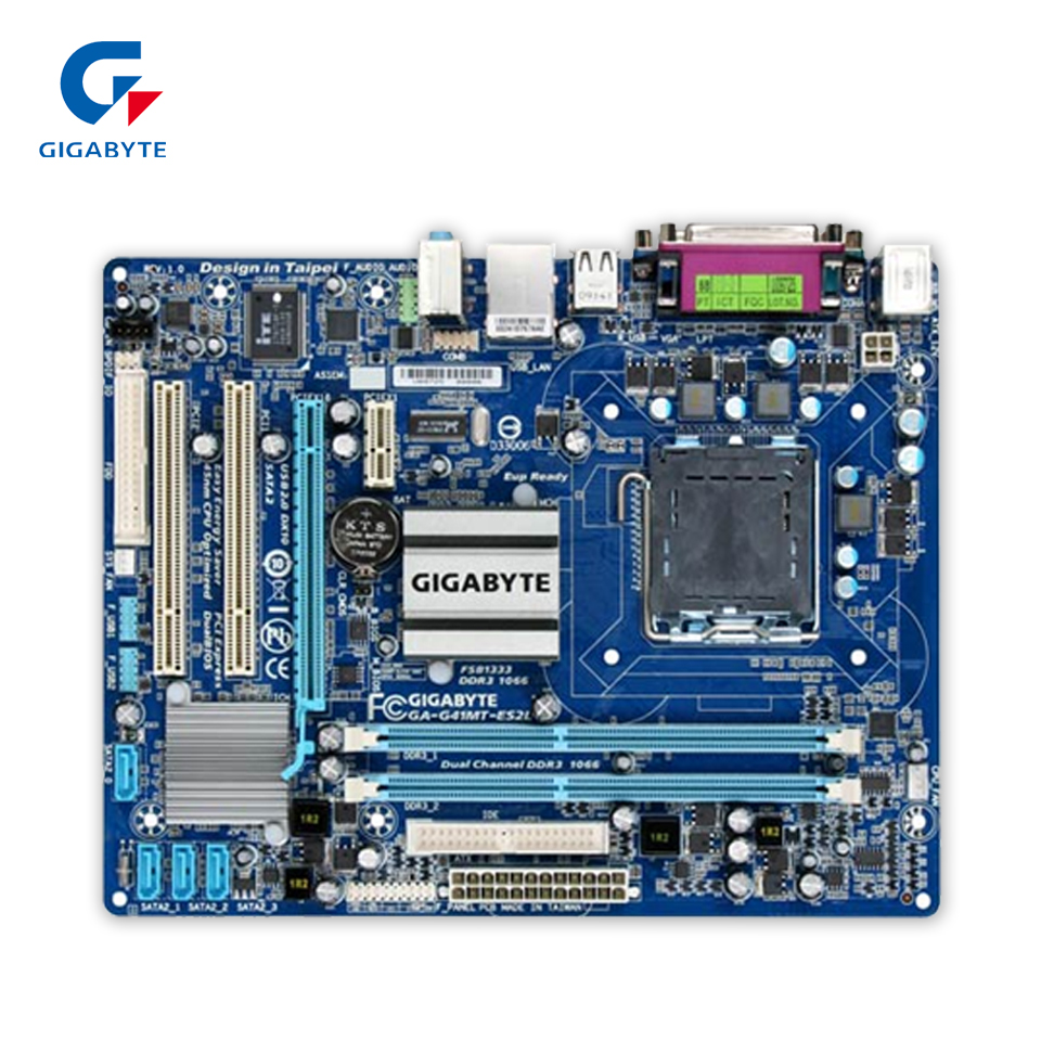 Gigabyte GA-G41MT-ES2L Original Used Desktop Motherboard G41MT-ES2L  G41 LGA 775  DDR3 8G SATA2 USB2.0 Micro-ATX original motherboard ga g41mt s2 lga 775 ddr3 g41mt s2 8gb fully integrated g41 free shipping