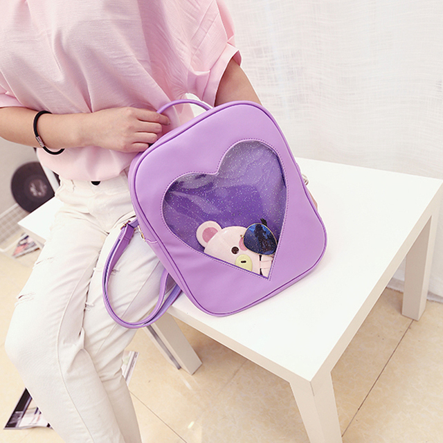 1 PC 5 Colors Women Candy color Transparent Heart Shaped Backpack Schoolbag Portable Storage Box Incorporated Bin Case