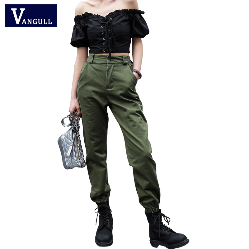 Vangull High waist   pants   2019 loose joggers women army harem camo   pants   streetwear punk black cargo   pants   women   capris   trousers