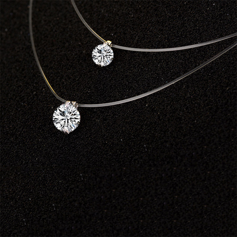 925 Dazzling Zircon Necklace And Invisible Transparent Fishing Line Simple Pendant Jewelry sterling silver jewelry gifts B25 B26