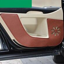 Lsrtw2017 волокна кожи двери автомобиля анти-kick коврик для toyota highlander 2013 2014 2015 2016 2017 2018 2019 3rd поколения